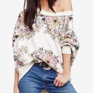 FREE PEOPLE Go On Get Floral Oversized Sweatshirt